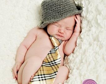 Genuine ORIGINAL design baby boy girl  fedora hat photography props newborn to 3 months handmade in Canada 0-3