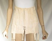 RESERVED........Vintage 30s Burlesque Peach Lace Up Corset