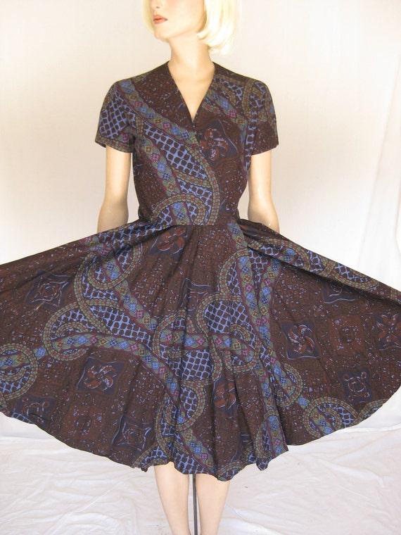 Vintage 50s Anne Fogarty Batik Circle Skirt Wrap Dress.