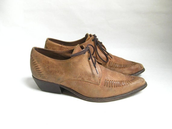 Vintage 80s Woven Leather  Lace Up Ankle Booties. Size 10
