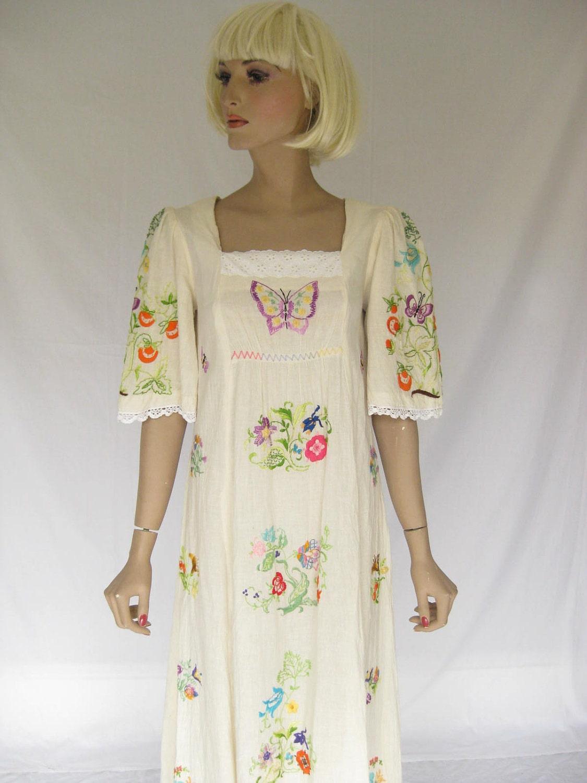 Vintage s gauze embroidered hippie maxi dress