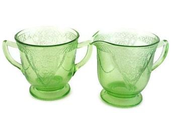 Cream and Sugar Federal Glass