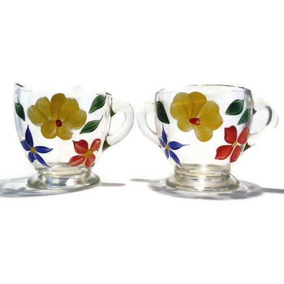 Vintage Cream and Sugar with Hand Painted Flowers