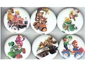 Mario Kart Pinback Buttons Set of 6 - 1.25 inch