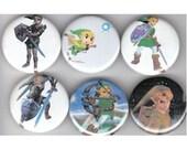 Legend of Zelda Link Pinback Buttons Set of 6 - 1.25 inch