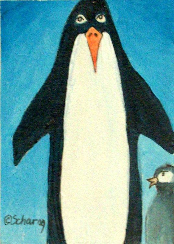 Papa Penguin-Original ACEO