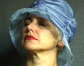 Sky - Pretty Blue Twinkle Fabric Hat made by Lyndell - Easy Care Travel Hat