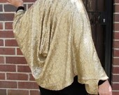 Bright Gold Sequin Evening Wrap - Kimono Cocoon - 1930s Hollywood Style Glamour