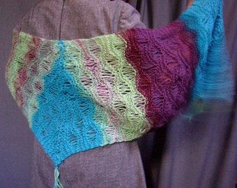 Mermaid Shawl - Hand Dyed, Hand Spun, Hand Knitted