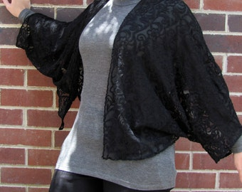 Black Lace Kimono Cocoon - 1930s Style Glamour