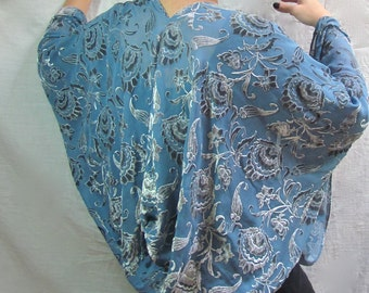 Light Blue Kimono Cocoon Wrap - 1930s Style Glamour in Devore Velvet - One Size Fits All