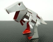 Jurassic Robot Dinosaur SILVER T-Rex Grimlock made by Coke Can