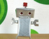 Miniature Cool Canbot Robot made by Coke Soda Can - Tin Man Silver Color