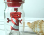 Tiny Handmade Miniature Canbot Robot Doll Figure made by SODA Can- Red FIRE BALL in BOTTLE