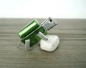 Super Cute Miniature Handmade Tiny Little Turtle Robot - Green Silver Color