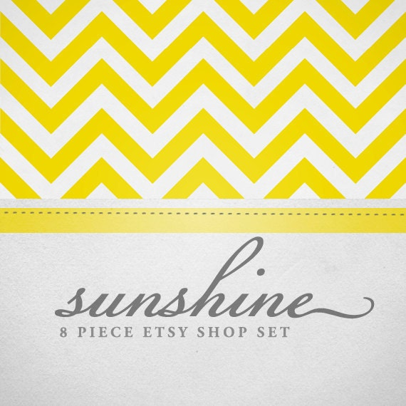 Chevron shop and banner avatar premade set - yellow, pink, blue, mint green complete set vacation sale banners listing placeholders