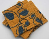 SALE- Quilted Coasters - Saffron Yellow and Teal