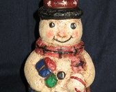 Paper Mache Snowman w/Candy Cane/Packages