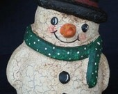 Paper Mache Snowman w/Dotted Scarf