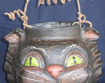 Paper Mache Halloween Lg Cat Basket