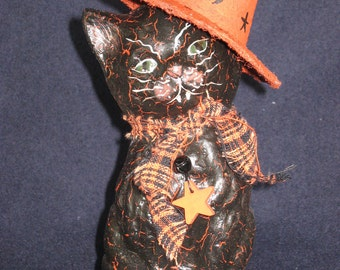 Paper mache Sitting Halloween Cat w/Hat