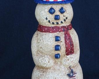 Paper Mache Textured Patriotic Snowman w/Hat and Star