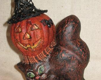 Paper Mache Halloween Cat w\/Pumpkin on Back
