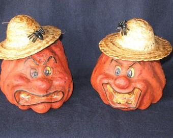 Paper Mache Set of 2 Pumpkins