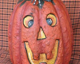 Paper Mache 7 in. Pumpkin w/Spider