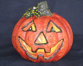 Paper Mache 5 in. Pumpkin w/Spider