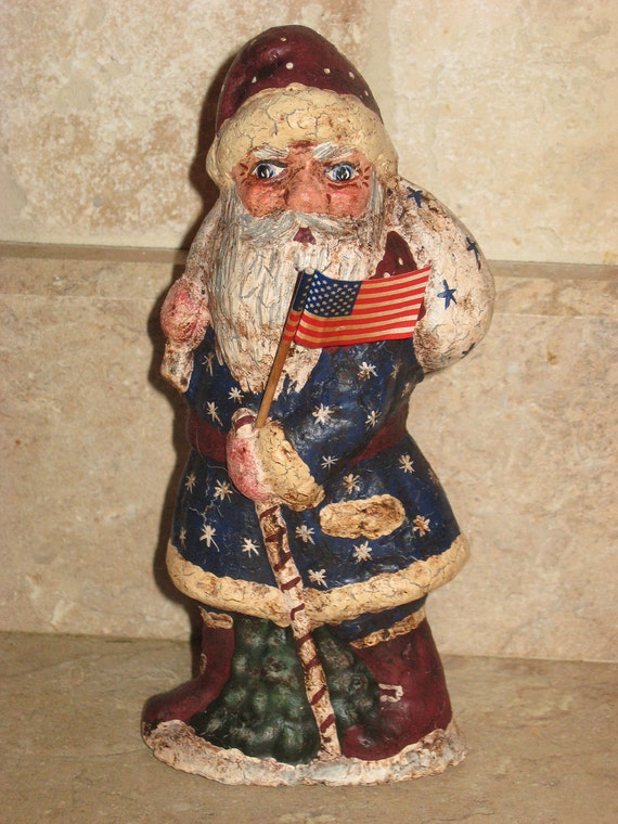 Paper mache Patriotic Santa w/Flag/Bag