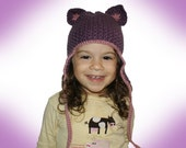 All ages Kitty Cat Ear Flap Hat Crochet Pattern