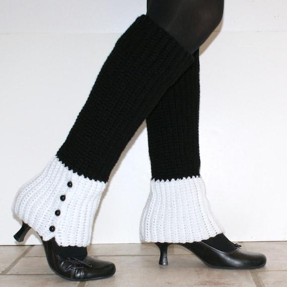 Free Crochet Pattern For Womens Leg Warmers : Womens Faux Spats Leg Warmers Crochet Pattern