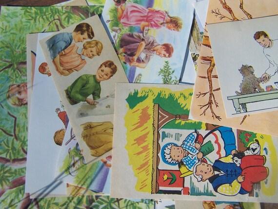 Vintage Childrens Book Illustration Ephemera Pack