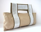 Clutch Bag - Beige and White - Canvas and Sequins - Last one