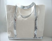 Canvas Sequin Tote Bag, Beach Bag - Ivory/Beige and Silver Sequins