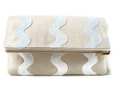 Neutral Canvas Clutch With White Waves