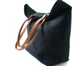 Black Tote Bag, Beach Bag, Day Bag - Black Linen and Leather