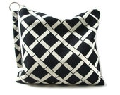 Utility Pouch - Water resistant bag.  Black and Ivory