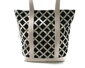 Beach Bag,Tote Bag - Black and Ivory Retro Modern Bamboo Print