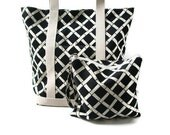 Beach Bag/Tote Bag and Utility Pouch Gift Set - Black and Ivory Retro Modern Bamboo Print