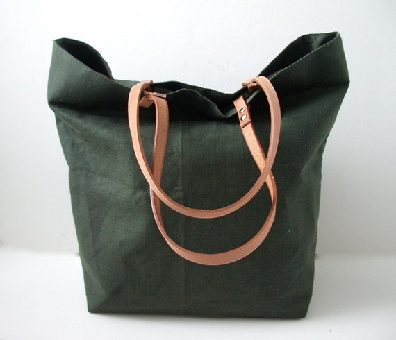 Linen Tote Bag, Beach Bag - Field Green With Tan Leather Handles - Last One