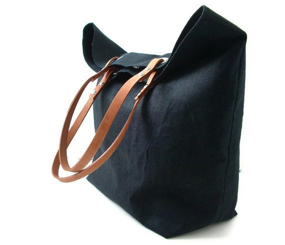 Black Tote Bag Beach Bag Day Bag Black Linen and Leather