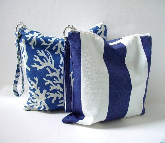 Utility Pouch - Water resistant bag, Nautical Navy Blue and White Stripes