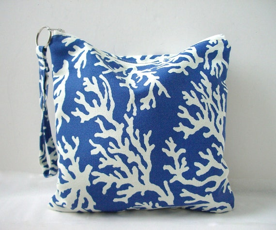 Utility Pouch - Water resistant bag, Nautical Blue and White Coral Print
