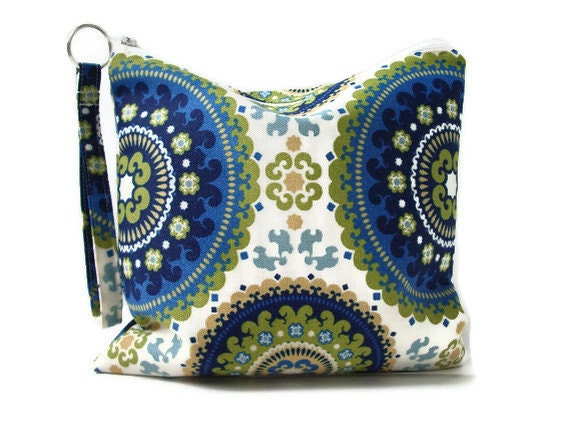 Water Resistant Bag, Zippered Toiletry Bag for Women, Boho Blue, Utility Pouch, Travel Bag, Dry Bag, Re-usable snack pouch