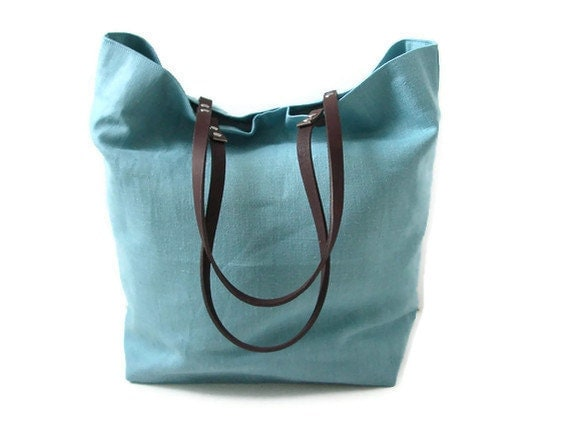 Linen Tote, Beach Bag - Mineral Blue with Dark Brown Leather Handles