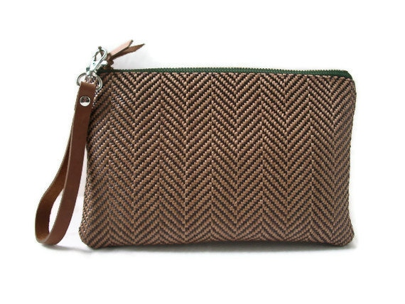 Simple Woven Clutch, Wristlet - Brown and Tan with Leather Wrist Strap
