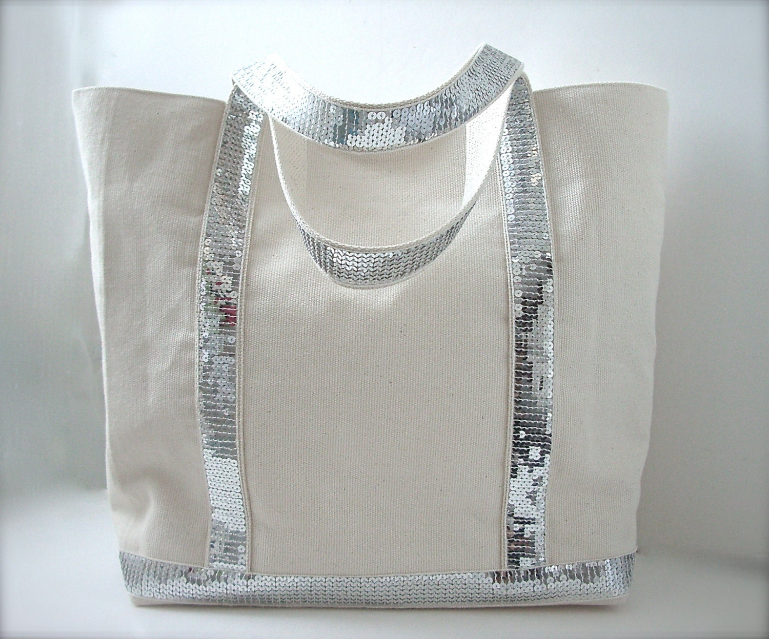 Canvas Sequin Tote Bag Beach Bag Ivory/Beige and Silver