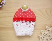 SALE Valentine Fabric Cupcake Brooch Red